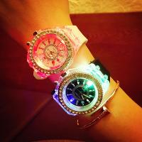 Buy cheap wholesale New led light geneva diamond stone crystal watch unisex silicone jelly from wholesalers