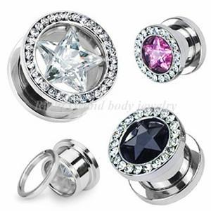 Steel Zirconia Star CZ Stone Tunnel Body Piercings Jewelry For Unisex Manufactures