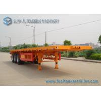 40ft Container Flatbed Semi Trailer , 3 Axles 45T Flatbed Utility Trailer Manufactures