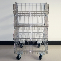 Stackable Chrome Wire Basket Display Rack With KD Structure Manufactures