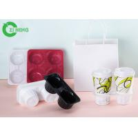 4 Compartment Coffee Cup Tray , Superb Clarity Disposable Drink Carriers Manufactures