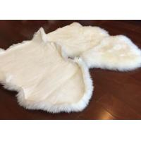 Quality Living Room Soft White Fur Floor Rug , Smooth Wool Sheepskin Car Seat Covers for sale