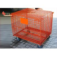 China Metal mesh storage cage with caster can be piled high and folded by spraying on sale