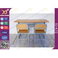 China Customized Size Double Student Desk And Chair Set For School Kids with Plywood + Steel Material on sale