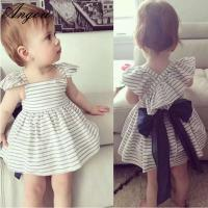 Buy cheap Angou 2016 Ins Hot Baby Girl Sets Striped Bow Princess dress+pants 2pcs Toddler Clothing from wholesalers