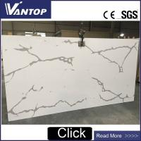 VT9008-2 Calacatta White Quartz Countertop Stone Slab for Kitchen and Bathroom Manufactures