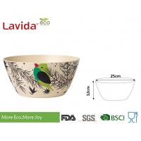 China Reusable Birds Pattern Bamboo Fiber Bowls , Round Shape Large Melamine Salad Bowl on sale