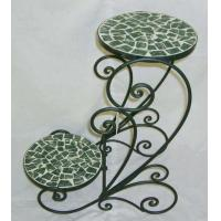 China 2-Tier Round Iron Plant Stand With Mosaic on sale
