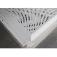 Metal Beveled Edge Perforated Ceiling Tiles Suspended Black Groove Carrier For Shopping Malls Manufactures
