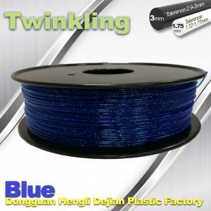 Blue Color Flexible 3D Printer Filament 1.75 3.0mm Twinkling Filament 200°C - 230°C Manufactures
