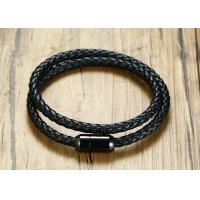 China Double Woven Genuine Leather Clasp Bracelet 39CM Stainless Steel Black IP Plated Magnet Buckle on sale