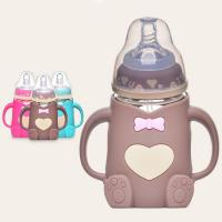 China bear shape high quality BFA free nature glass baby feeding bottle with silicone sleeve on sale