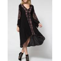 Balck Lunging Neckline Dress With Embroidered Flowers , High Low Floral Embroidered Dress Manufactures
