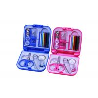 Portable Pink Blue Color Travel Sewing Kits With Folding Plastic Case Manufactures