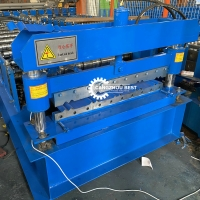 China Galvanized Metal Roofing V Crimp Panel Roll Forming Machine Production Line on sale