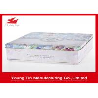 Square Metal Cookie Gift Tins Container Box With Full Color Printing Shiny Finish Manufactures