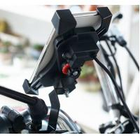 360 Rotation One Key Draw Back Motorcycle Phone Holder With Switch and 5V/2.1A Motorcycle Usb Charger Manufactures