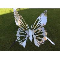 Fairy Garden Ornaments Sculptures Modern Art Stainless Steel Flying Butterfly Manufactures