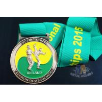 Buy cheap Taekwondo Fencing Running Sports Award Medals 3D Design Zinc Alloy Material With Blue Ribbon from wholesalers