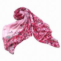 China Long Size Fashionable Scarf with Printing, Made of 100% Poly Voile Fabric on sale