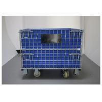 Medium Welded Steel Wire Basket Containers Multi Use With Blue PP Sheet Manufactures