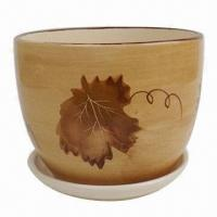 Ceramic Flower Pot with Leaf Design, Various Designs are Available Manufactures
