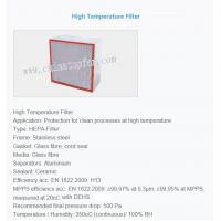 Quality High temperature air filter,HEPA air filter,HEPA filter for sale