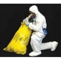 32 x 48 6 Mil Printed Yellow Black Asbestos Bags, factory manufacturing Industrial heavy duty clear plastic asbestos tra Manufactures