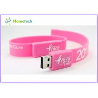 Pink Silicon Wristband USB Flash Drive Silicon bracelets USB Flash Memory , Multi Color USB 2.0 Bracelet Memory Stick Manufactures
