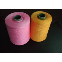 China 30s 100% Ring Spun Polyester Yarn High Tenacity , Pink Orange on sale