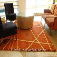 Striped design shaggy embroidered living room polyester area rug Manufactures