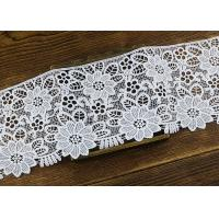 Wide Flower Pattern White Guipure Lace Trim For Fashion Dress OEM / ODM Manufactures