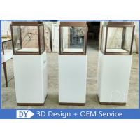 Luxury Jewellery Shop Display Cabinets Square Matte White Stain Steel Frame Manufactures