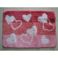 Red Heart Shaped Cut Pile Carpet Door Mat , Small Area Rugs For TV Room Manufactures