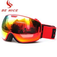 Durable Comfortable Red Snowboard Goggles , Double Lens Ski Goggles With Anti Burst Manufactures