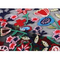 Black Colorful Flowers Embroidery Lace Hand Beaded Fabric For Curtain / Garment Manufactures