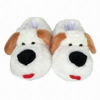 China Novelty Plush Toy Dog Indoor Slippers with EVA Inner Sole, Available in Various Sizes on sale