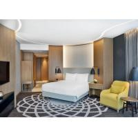 Luxury 4 Star Hotel Bedroom Furniture King / Queen Size Bed With Veneer PU Leather Wall Panel Manufactures