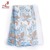 French Luxury Embroidered Lace Fabric / Dress Voile Tulle Lace Fabric Flowers Decoration Manufactures