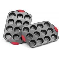 Professional manufacturer Nonstick Muffin Pan with Silicone Handles Cupcake Maker 2 Pans Manufactures
