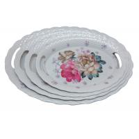 China 17.5 Inch Large Round Melamine Serving Tray Home Decoration Eco Freindly on sale