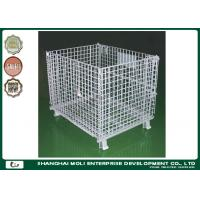 China Zinc plating Wire Storage Containers heavy duty rigid rolling collapsible wire cage on sale