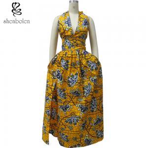 Women's Stylish African Print Dresses Kitenge Fabric Deep V Neck Front Slit Manufactures
