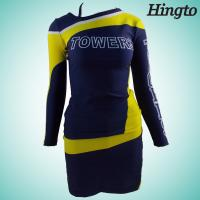 Black And Gold Cheerleading Uniforms Long Sleeve Cheerleader Costume Manufactures