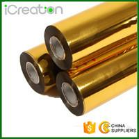PET Printing Gold Flat Hot Stamping Foil 12 Micron Thickness MSDS Certificated Manufactures
