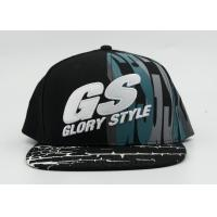 6 Panel 100 Cotton Printed Baseball Caps Black Printed And Raised Embroidery Manufactures