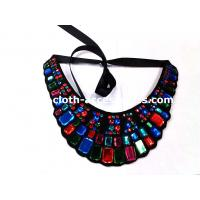 China Rectangle And Round Beaded Neck Trim Felt Fabric For Navy Blue Shift Dress on sale