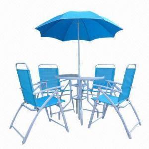 6 Pieces Folding Textilene Bistro Set, Includes Parasol and Round KD Table Manufactures