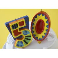 Quality 100% Handmade 50th Number Birthday Candles With Colorful Paintings No Virus for sale