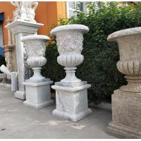 China Marble carvings planter stone carved flowerpot sculpture,outdoor stone garden statues supplier on sale